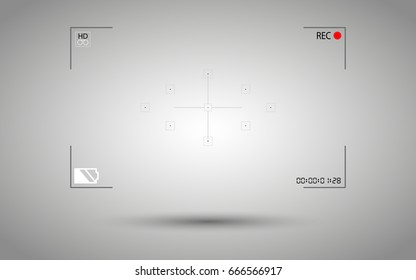 Frame modern digital video camera focusing screen isolated on background