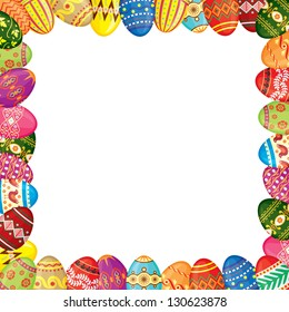 Frame of multicolor painted Easter eggs