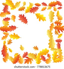 Frame of oak leaf abstract background seasonal vector illustration. Autumn leaves falling graphic design. Fall season specific border frame vector background. Oak tree autumn foliage on white.