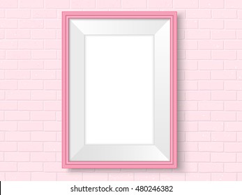Frame on brick wall. Pink photoframe mock up. Empty frame for modern interior design. Isolated vector illustration. Realistic vector template for posters, paintings, or photos.