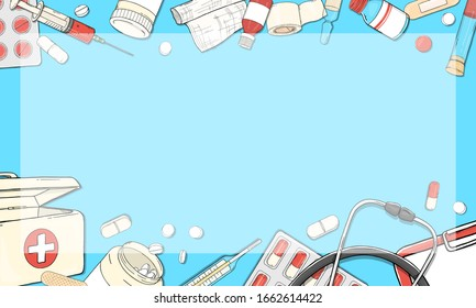 Frame on the theme of health. Space for your text. Medical equipment, medicines and tablets. Colorful vector illustration in sketch style. For advertising, leaflets, booklets, and websites. Template