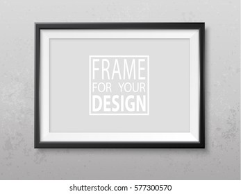 Frame on the wall. Photoframe mock up. Grey grunge wall. Simple elegant empty framing for your design. Vector template for picture, painting, poster, lettering or photo gallery.