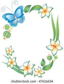 Frame on a white background, butterfly, foliage and flowers