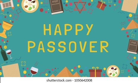 """Frame with Passover holiday flat design icons with text in english """"Happy Passover"""". Template with space for text, isolated on background."""
