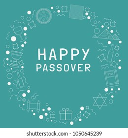 """Frame with Passover holiday flat design white thin line icons with text in english """"Happy Passover"""". Template with space for text, isolated on background."""