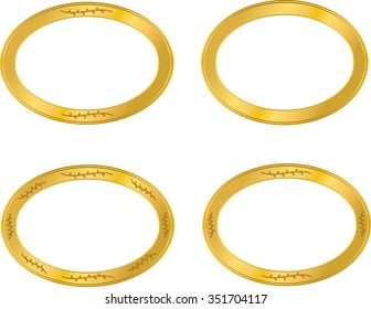 frame pattern, metal gold, metal silver, wood, precious metals, four round frame vector