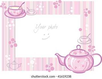 Frame for photo with pink teapot and cup