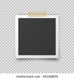 Frame of photo with shadow pin on sticky tape. Realistic empty square black and white photo snapshot  isolated on transparent background. Vector frame of picture for your design.
