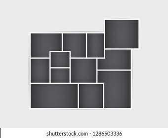 Frame for photos and images. The mosaic of. Retro-style. Collage template. Vector isolated background.