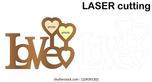 Frame for photos with inscription 'Love' for laser cutting. Collage of photo frames. Template laser cutting machine for wood and metal