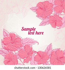 frame with pink hibiscus with place for text. vector illustration