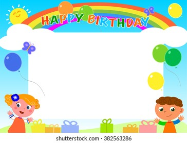 Frame with rainbow, balloons, gifts and happy cute children. Vector illustration for a Happy Birthday.