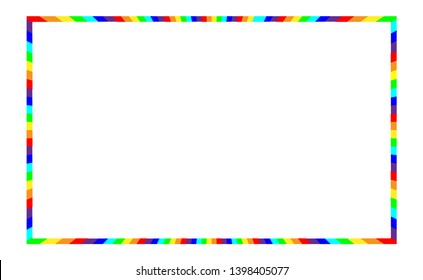 Frame with rainbow for decoration and illustration. Motley full coloration design, segments of different colors. Vector Eps 10.