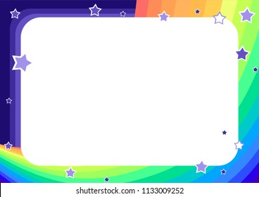 frame with rainbow, sky and stars in cartoon style (background for children's announcements, photos, diploma, certificate, coupon)