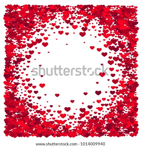 Frame Red Hearts Border Design Objects Stock Vector Royalty Free