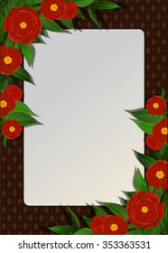 Frame with red peony flowers.