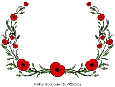Frame with red poppy. World War II, commemorative symbol. Wreath with red poppy. Day of Remembrance and Reconciliation. Flat style. Anzac day
