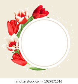 Frame with red and white tulips. Beautiful realistic flowers and buds.