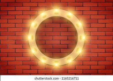 Frame of Retro light bulb on brick wall. Circle frame and Volumetric light. Advertising design of signboard. Vector Illustration