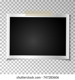 Frame retro photo on transparent background. Vintage Horizontal blank old photography on sticky tape. Vector