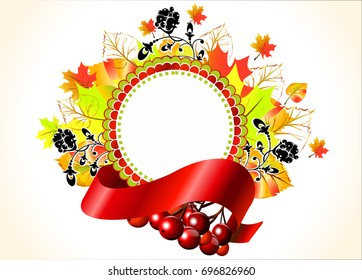 Frame with ribbon and autumn leaves. Vector image.Autumn frame for labels, stickers for the packaging of goods for shops. A vegetative pattern.