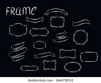 Frame, ribbons chalk isolated design elements on black background . Concept for logo, cards, icon invitation, menu