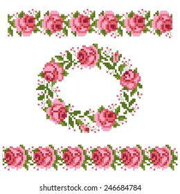 frame of the roses, embroider