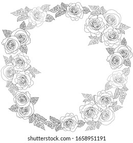 Frame of roses. Vector outline illustration for invitations, wedding cards, decorative elements, coloring book.