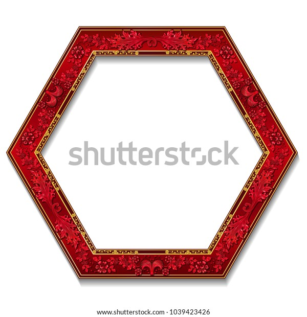 frame ruby color with shadow on white background