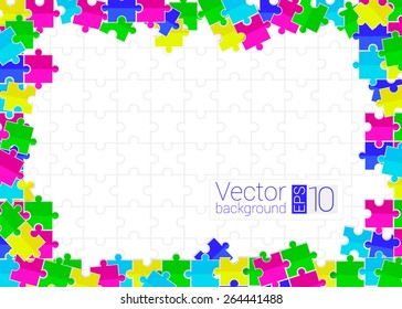 frame from scattered colored flat toys puzzles with white background
