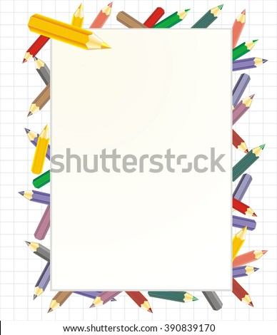 901dbf1e9572 Frame School Background Colorful Pencils Stock Vector (Royalty Free ...