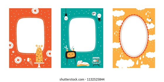 Frame set for baby's photo album, invitation, note book or postcard with cute animals in cartoon style and elements. Cute frame, border. Cake, star, dog, fish, cloud, heart, bird. Vector illustration