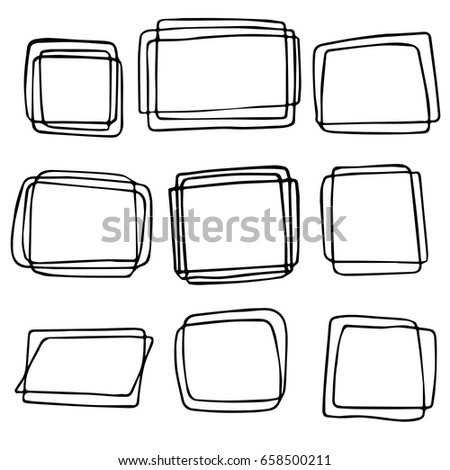 Frame Set Different Shapes Sizes Hand Drawn Stock Vector (Royalty ...