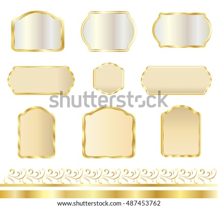 Frame Set Gold Frames Labels Banners Stock Vector Royalty Free