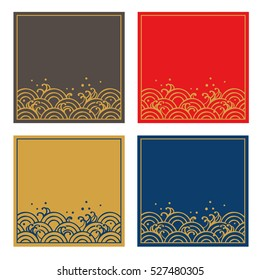 Frame set of Traditional Japanese wave pattern