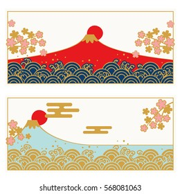Frame set of Traditional Japanese wave pattern and FUJIYAMA, SAKURA