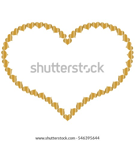 Frame Shape Heart Small Gold Hearts Stock Vector (Royalty Free ...