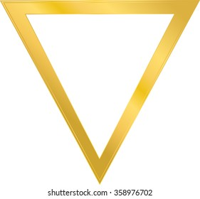 frame in the shape of a triangle, the metal gold, one frame, vector