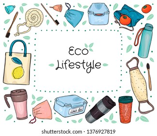 frame shaped set of hand-drawn eco-friendly objects isolated in white background