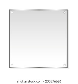 Frame silver sticker. Vector, isolated object on white background