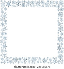 Frame from snowflakes for a card