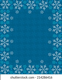 frame with snowflakes on a blue background, vector