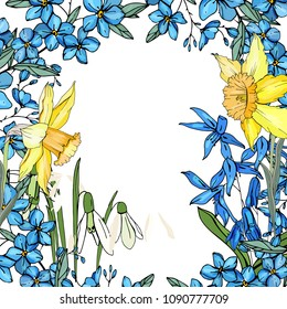 Frame with spring flowers daffodils and and small blue flowers. Decorative season floral frame for festive design