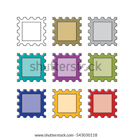 Frame With Stamp Border In Color Vector Drawing