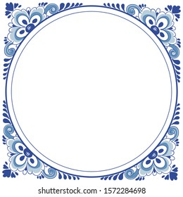 Frame in the style of dutch delft blue tiles