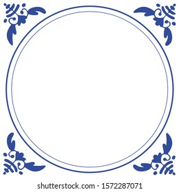 Frame in the style of dutch delft blue tiles ready to put your text inside