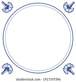 Frame in the style of dutch tiles delft blauw