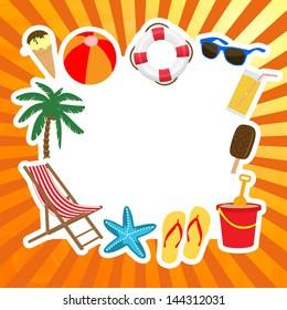 Frame with summer elements, vector illustration