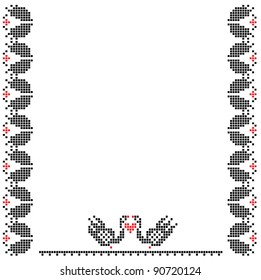 Frame with swans,the scheme for embroidery.