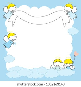 Frame with sweet little angels in blue color.